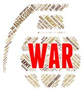 War Word Represents Military Action And Battle - stock illustration