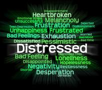 Distressed Word Shows Distressing Desperate And Wordcloud - stock illustration