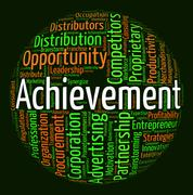 Achievement Word Means Achieving Wordcloud And Attainment - stock illustration