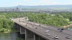 Traffic on a bridge Stock Footage