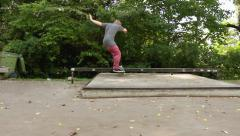 Skateboard grind to manual trick Stock Footage