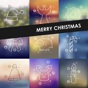 Christmas timeline infographics with blurred background Stock Illustration