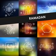 Ramadan timeline infographics with blurred background Stock Illustration
