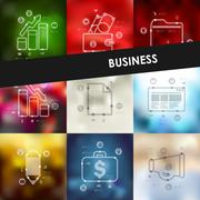 business timeline infographics with blurred background - stock illustration