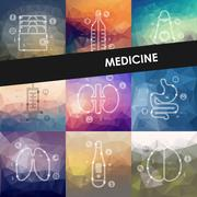 medicine timeline infographics with blurred background - stock illustration