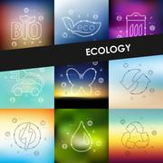 ecology timeline infographics with blurred background - stock illustration