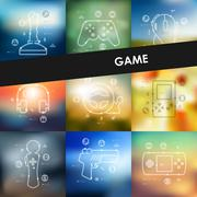 gaming timeline infographics with blurred background - stock illustration