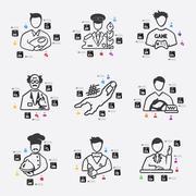 professions infographic - stock illustration