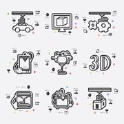 three d printer infographic - stock illustration
