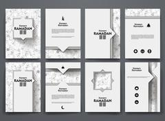 Vector brochures with doodles backgrounds on ramadan theme - stock illustration