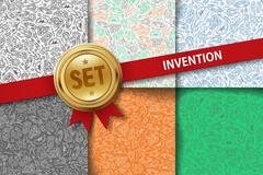 Set of invention backgrounds with doodle icons in different colors - stock illustration