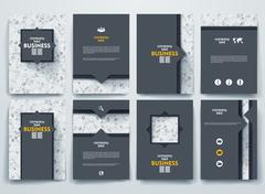 Vector brochures with doodles backgrounds on business theme - stock illustration