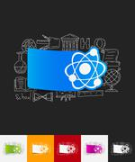 Atom paper sticker with hand drawn elements Stock Illustration