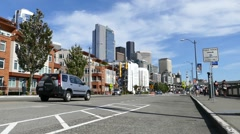 Seattle - Waterfront Street - Traffic and People - 01 Stock Footage