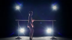 Beauty ballerina near the barre. smoke. slow motion Stock Footage