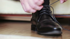 Close-up black shoes dressing Stock Footage