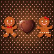 Loving couple of gingerbread cookies and heart chocolate Stock Illustration