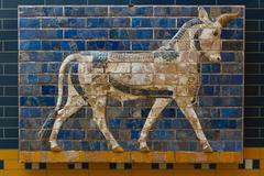 Glazed brick panel from way to Ishtar Gate - stock photo