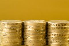 Three Stacks of British Pound Coins Stock Photos