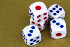 Macro Studio Shot of Five White Plastic Dice Stock Photos