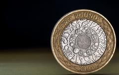 Macro Close Up of a British Two Pound Coin Stock Photos