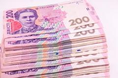 Stock Photo of ukrainian hryvnia close up