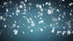 snowfall on blue seamless loop christmas background 4k (4096x2304) - stock footage