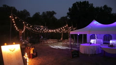wedding tents and place for the ceremony - stock footage