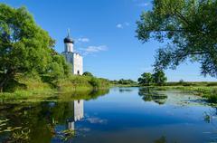 Church of Intercession on Nerl near village Bogolubovo, Vladimir region, Russ - stock photo