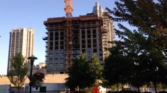 One side of construction high rise building - stock footage