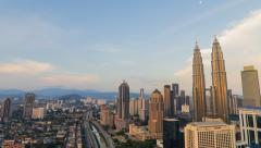 Kuala Lumpur Sunset Timelapse, Pan effect Stock Footage