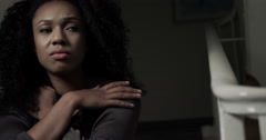 Dolly shot of a young woman having relationship problem. Shot on RED Epic. Stock Footage