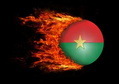 Stock Illustration of Flag with a trail of fire - Burkina Faso