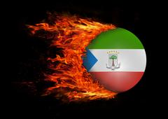 Stock Illustration of Flag with a trail of fire - Equatorial Guinea