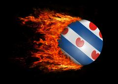 Stock Illustration of Flag with a trail of fire - Friesland