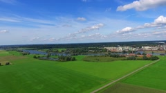 Aerial shot of dutch landscape at the river rhine Stock Footage