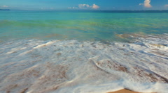 Tropical Beach Ocean Scenic Landscape. Waves Rolling and Crashing on White Sa - stock footage