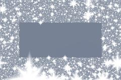 Frame from white snowflakes on a gray background - stock illustration