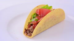 Stock Video Footage of Mexican taco served on a white plate