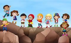 Children standing on cliff - stock illustration