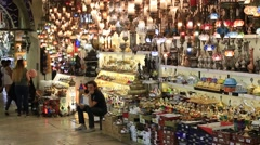 People visit the Grand bazaar in Istanbul. Turkey Stock Footage