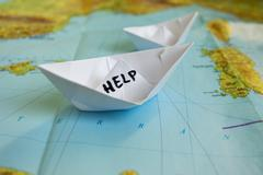 Paper Boat Map Help Refugees Stock Photos
