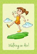 Idiom walking on air Stock Illustration