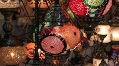 Decorative chandeliers in Grand bazaar. Istanbul, Turkey - stock footage