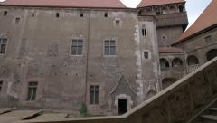 The inner yard of Corvin Castle, Hunedoara Stock Footage