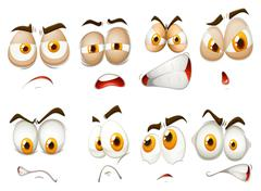 Different emotions of facial expression - stock illustration