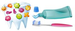 Tooth with bacteria and cleaning set Stock Illustration