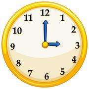 Yellow round clock with blue needles Stock Illustration
