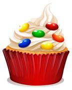 Cupcake with cream and decoration - stock illustration
