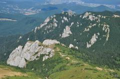 Beautiful mountain vista, sedimentary rocks in the Carpathians Stock Photos